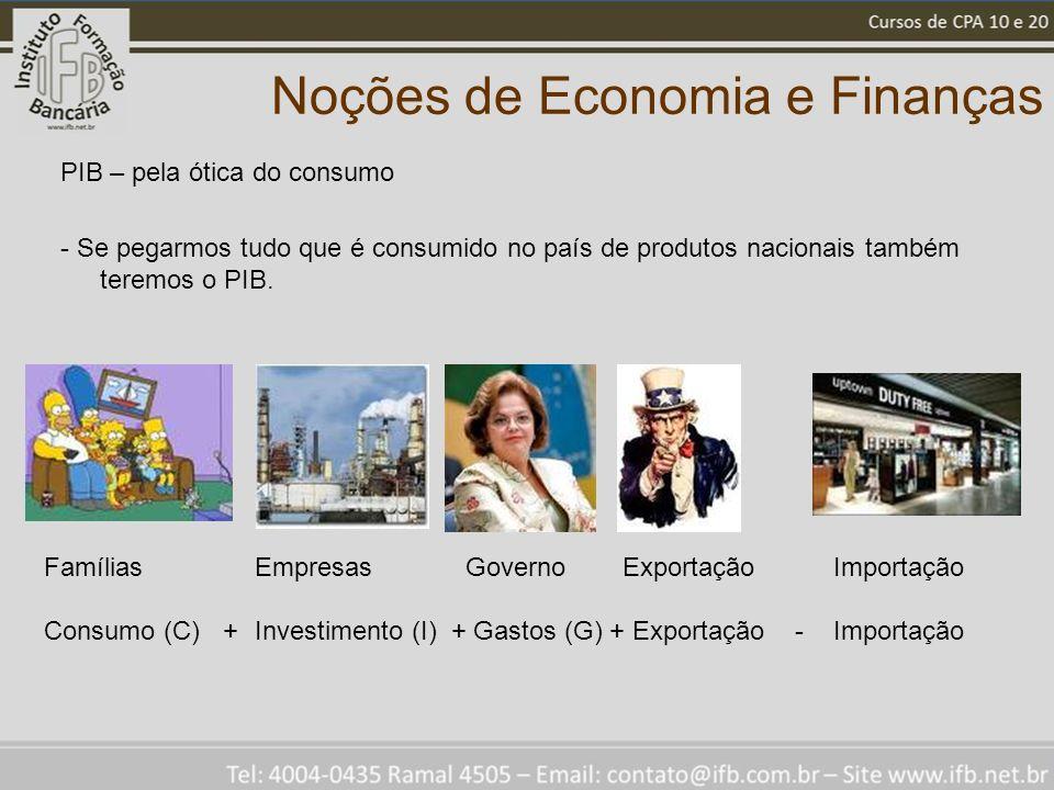 Noções de Economia e Finanças PIB – pela ótica do consumo - Se pegarmos tudo que é consumido no país de produtos nacionais também teremos o PIB.