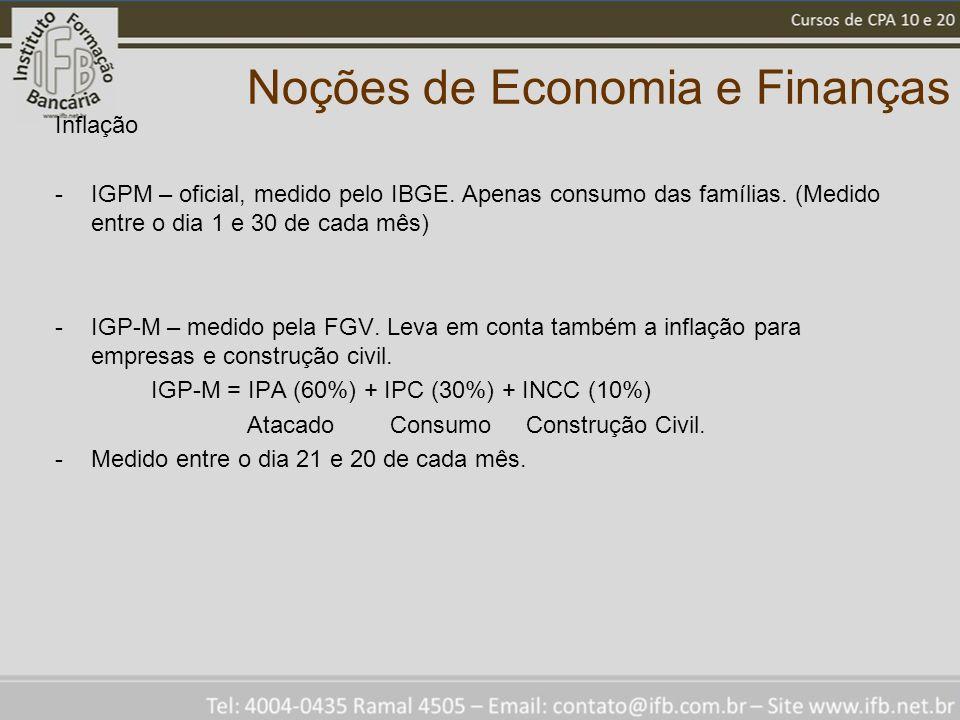 Noções de Economia e Finanças Inflação -IGPM – oficial, medido pelo IBGE. Apenas consumo das famílias. (Medido entre o dia 1 e 30 de cada mês) -IGP-M