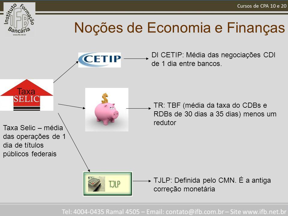 Noções de Economia e Finanças Taxa Selic – média das operações de 1 dia de títulos públicos federais DI CETIP: Média das negociações CDI de 1 dia entre bancos.