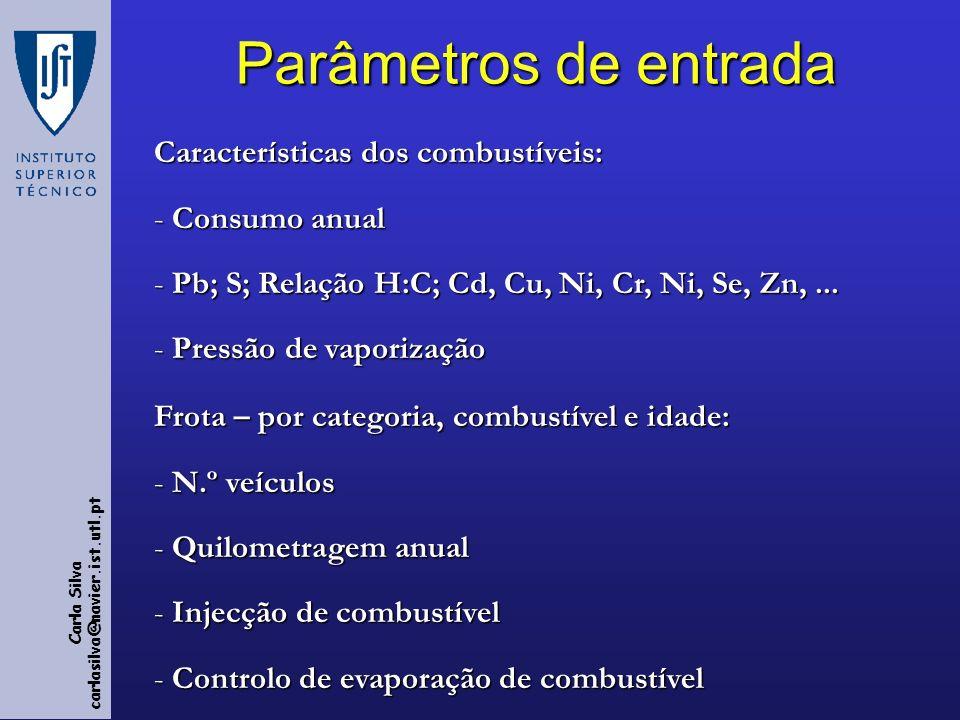 Carla Silva carlasilva@navier.ist.utl.pt Parâmetros de entrada Características dos combustíveis: - Consumo anual - Pb; S; Relação H:C; Cd, Cu, Ni, Cr, Ni, Se, Zn,...