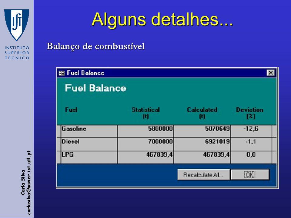 Carla Silva carlasilva@navier.ist.utl.pt Alguns detalhes... Balanço de combustível