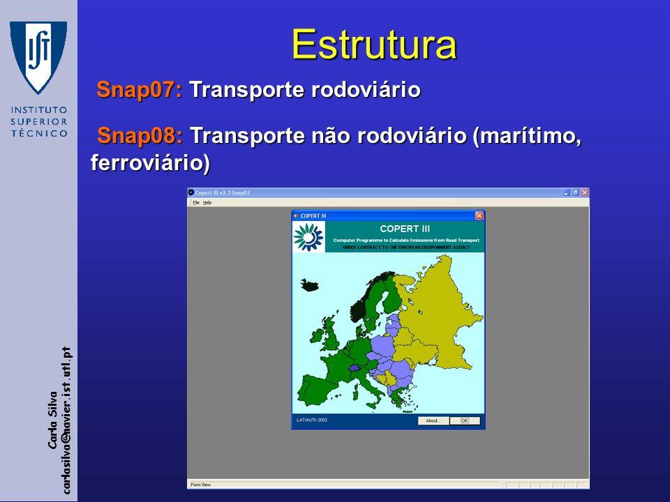 Carla Silva carlasilva@navier.ist.utl.ptEstrutura Snap07: Transporte rodoviário Snap07: Transporte rodoviário Snap08: Transporte não rodoviário (marítimo, ferroviário) Snap08: Transporte não rodoviário (marítimo, ferroviário)