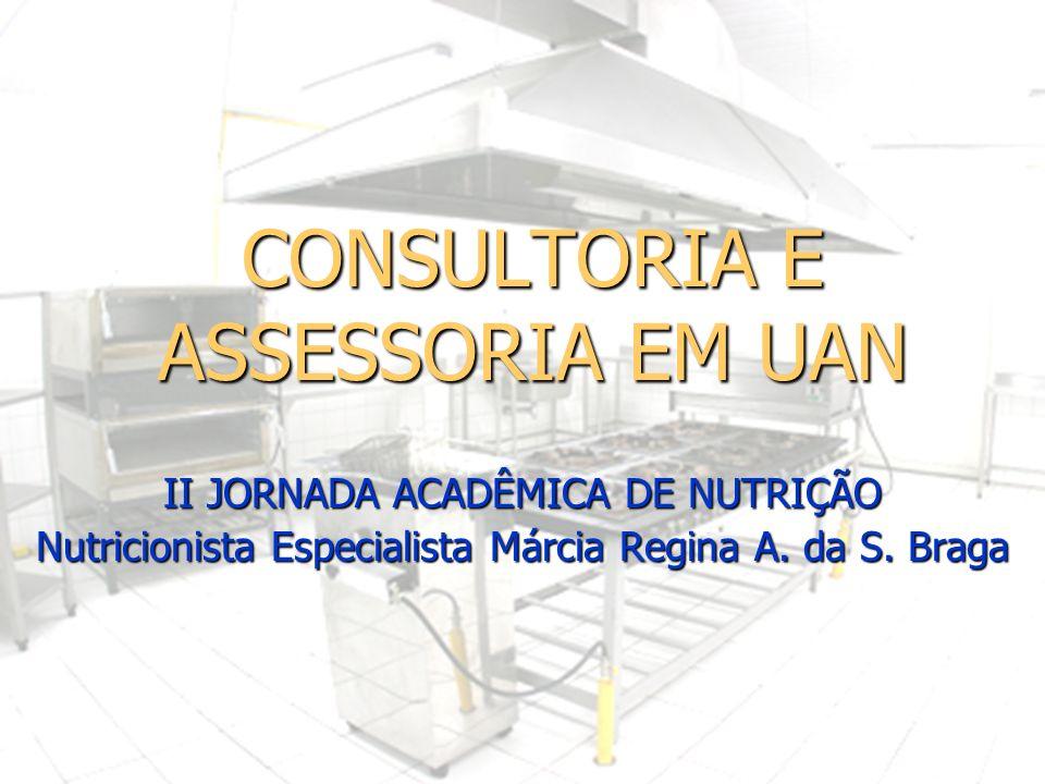 CONSULTORIA E ASSESSORIA EM UAN II JORNADA ACADÊMICA DE NUTRIÇÃO Nutricionista Especialista Márcia Regina A. da S. Braga