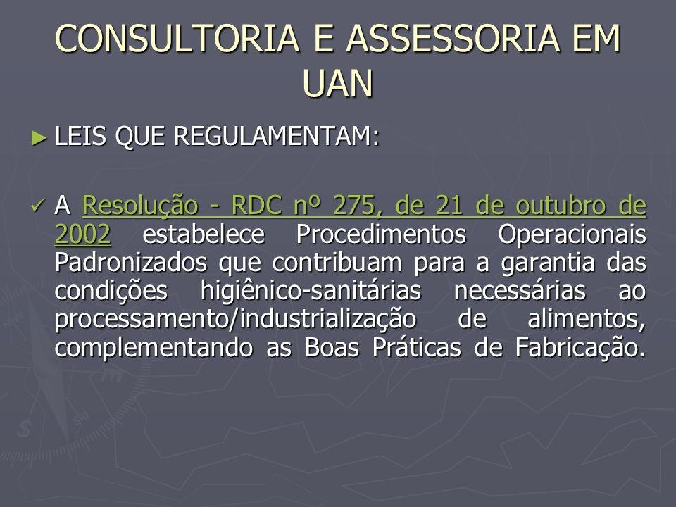 LEIS QUE REGULAMENTAM: LEIS QUE REGULAMENTAM: A Resolução - RDC nº 275, de 21 de outubro de 2002 estabelece Procedimentos Operacionais Padronizados qu