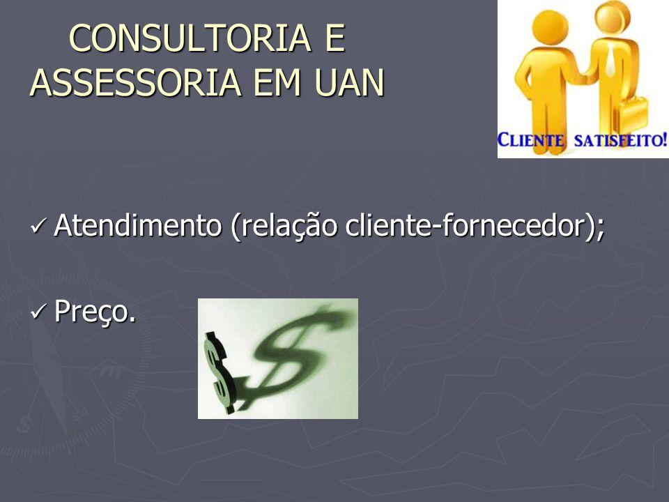 Atendimento (relação cliente-fornecedor); Atendimento (relação cliente-fornecedor); Preço. Preço. CONSULTORIA E ASSESSORIA EM UAN