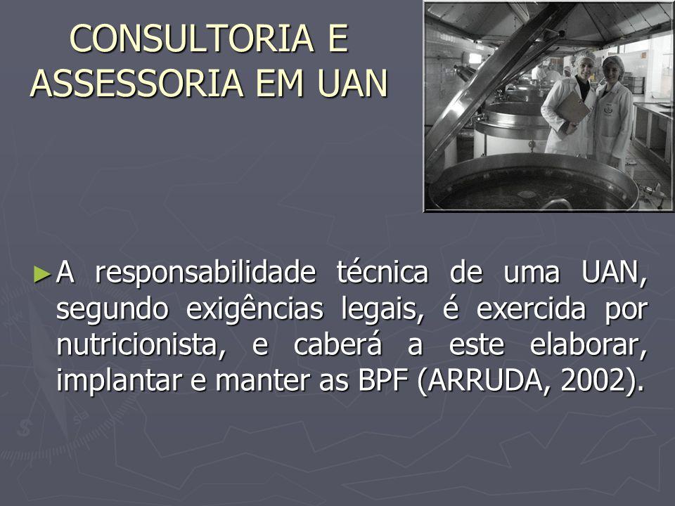 A responsabilidade técnica de uma UAN, segundo exigências legais, é exercida por nutricionista, e caberá a este elaborar, implantar e manter as BPF (A