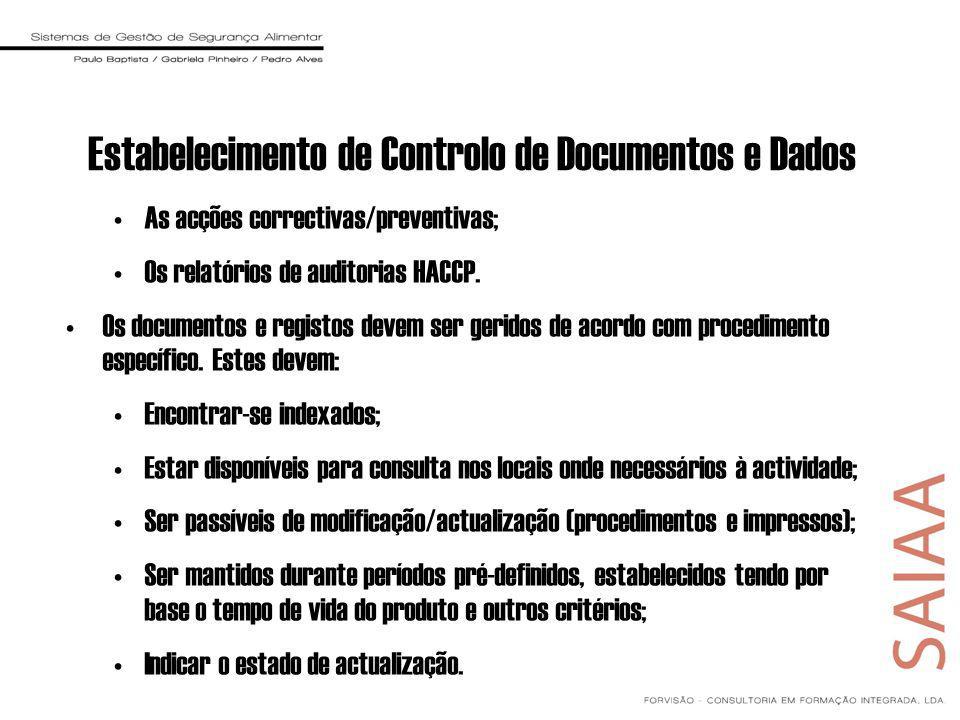 As acções correctivas/preventivas; Os relatórios de auditorias HACCP. Os documentos e registos devem ser geridos de acordo com procedimento específico