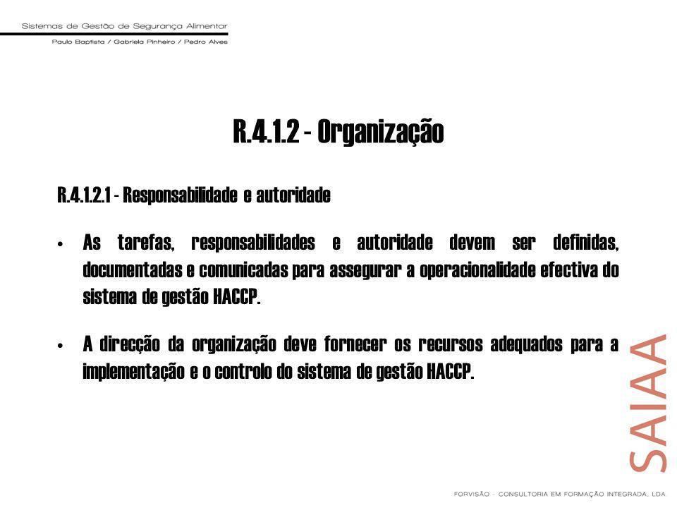 R.4.1.2 - Organização R.4.1.2.1 - Responsabilidade e autoridade As tarefas, responsabilidades e autoridade devem ser definidas, documentadas e comunicadas para assegurar a operacionalidade efectiva do sistema de gestão HACCP.