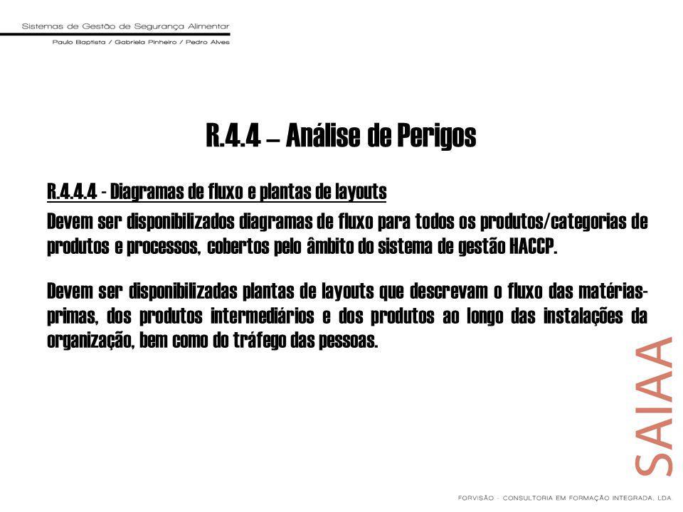 R.4.4.4 - Diagramas de fluxo e plantas de layouts Devem ser disponibilizados diagramas de fluxo para todos os produtos/categorias de produtos e proces