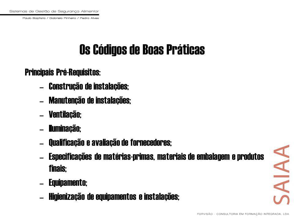 Os Códigos de Boas Práticas Principais Pré-Requisitos: –Construção de instalações; –Manutenção de instalações; –Ventilação; –Iluminação; –Qualificação e avaliação de fornecedores; –Especificações de matérias-primas, materiais de embalagem e produtos finais; –Equipamento; –Higienização de equipamentos e instalações;
