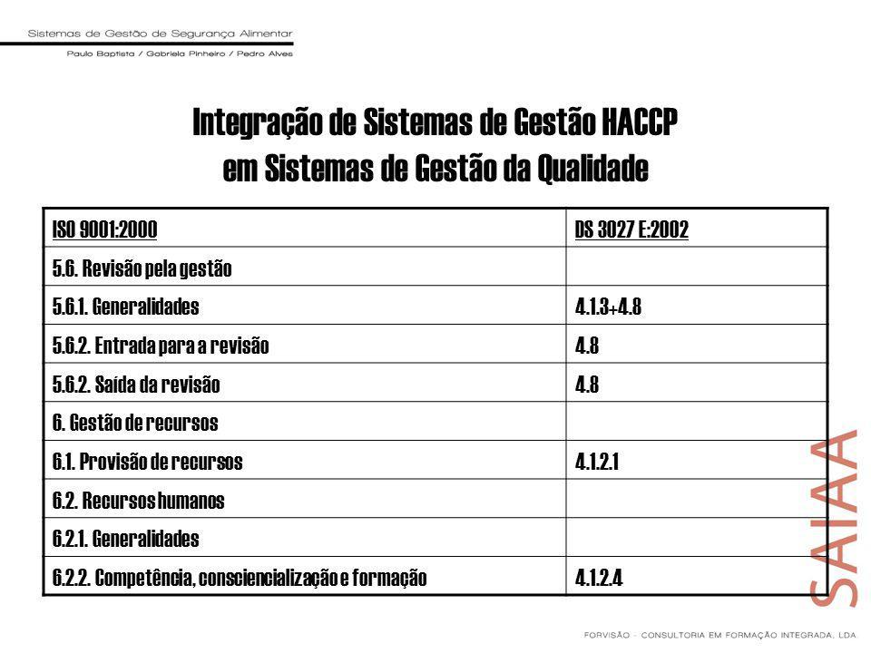 ISO 9001:2000DS 3027 E:2002 5.6. Revisão pela gestão 5.6.1. Generalidades4.1.3+4.8 5.6.2. Entrada para a revisão4.8 5.6.2. Saída da revisão4.8 6. Gest