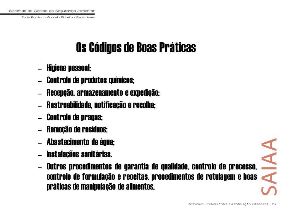 Os Códigos de Boas Práticas –Higiene pessoal; –Controlo de produtos químicos; –Recepção, armazenamento e expedição; –Rastreabilidade, notificação e re