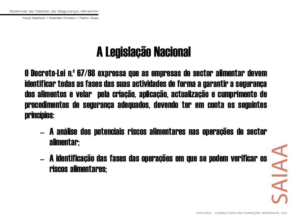 A Legislação Nacional O Decreto-Lei n.º 67/98 expressa que as empresas do sector alimentar devem identificar todas as fases das suas actividades de fo