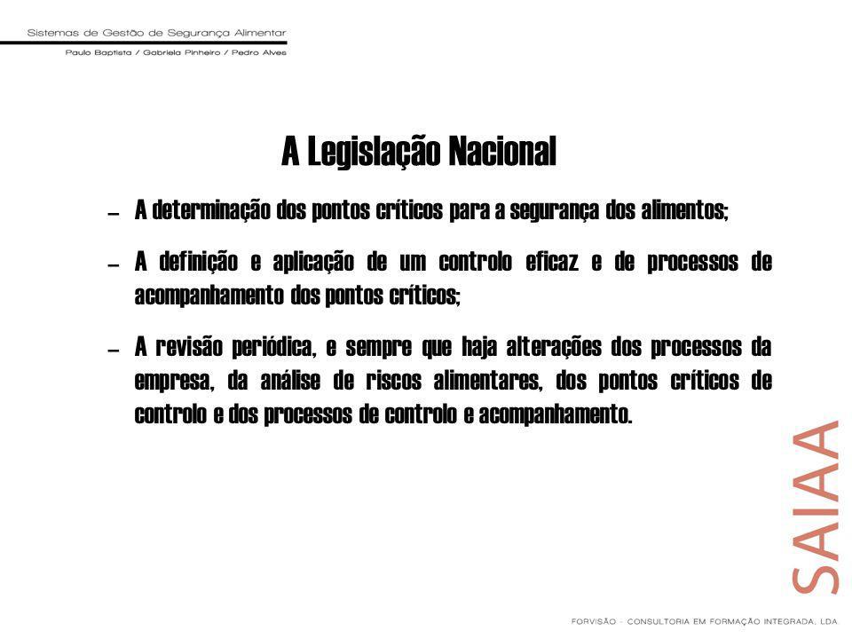 A Legislação Nacional –A determinação dos pontos críticos para a segurança dos alimentos; –A definição e aplicação de um controlo eficaz e de processo