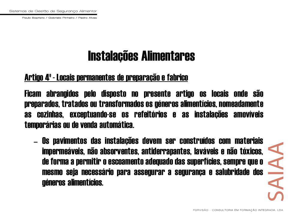 Instalações Alimentares Artigo 4º - Locais permanentes de preparação e fabrico Ficam abrangidos pelo disposto no presente artigo os locais onde são pr