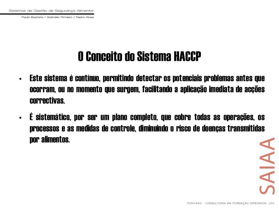 O Conceito do Sistema HACCP Este sistema é contínuo, permitindo detectar os potenciais problemas antes que ocorram, ou no momento que surgem, facilitando a aplicação imediata de acções correctivas.
