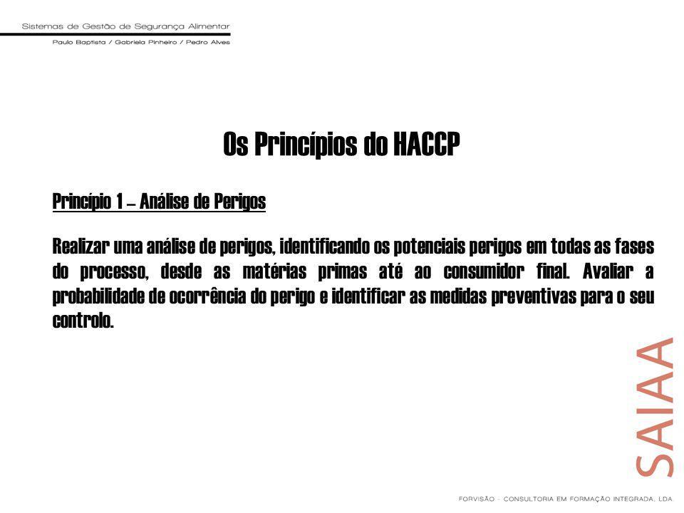 Os Princípios do HACCP Princípio 1 – Análise de Perigos Realizar uma análise de perigos, identificando os potenciais perigos em todas as fases do processo, desde as matérias primas até ao consumidor final.