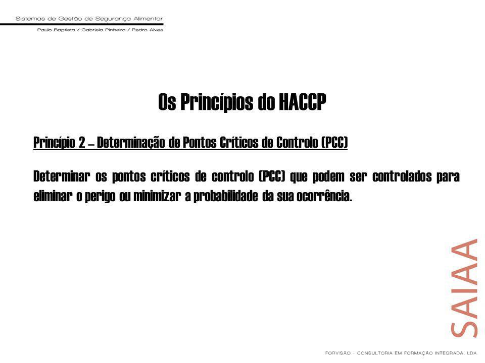 Princípio 2 – Determinação de Pontos Críticos de Controlo (PCC) Determinar os pontos críticos de controlo (PCC) que podem ser controlados para eliminar o perigo ou minimizar a probabilidade da sua ocorrência.