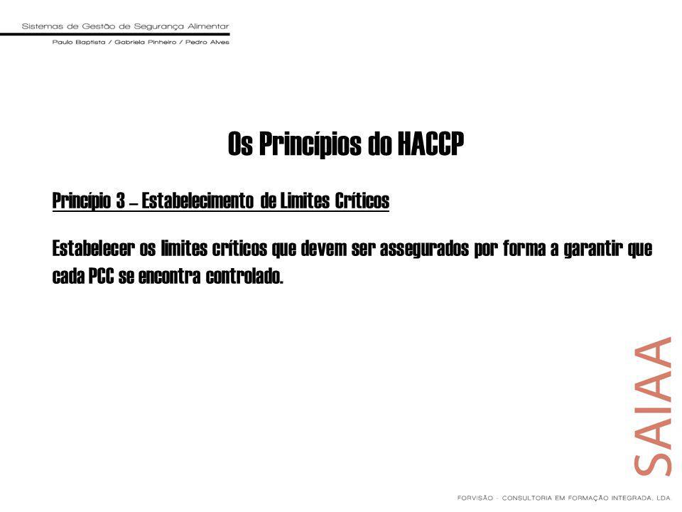 Princípio 3 – Estabelecimento de Limites Críticos Estabelecer os limites críticos que devem ser assegurados por forma a garantir que cada PCC se encontra controlado.
