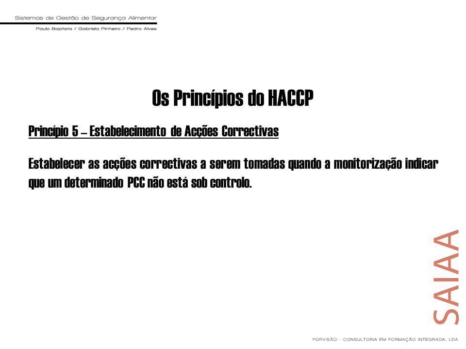 Princípio 5 – Estabelecimento de Acções Correctivas Estabelecer as acções correctivas a serem tomadas quando a monitorização indicar que um determinado PCC não está sob controlo.