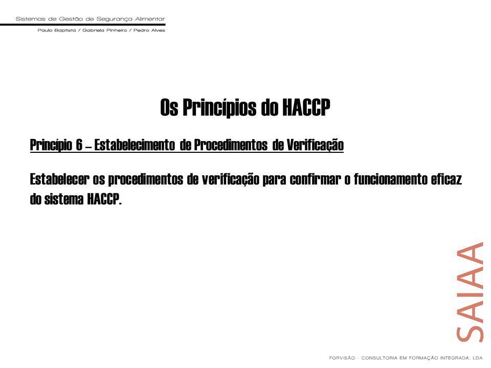 Princípio 6 – Estabelecimento de Procedimentos de Verificação Estabelecer os procedimentos de verificação para confirmar o funcionamento eficaz do sistema HACCP.