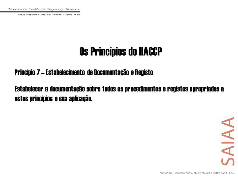 Princípio 7 – Estabelecimento de Documentação e Registo Estabelecer a documentação sobre todos os procedimentos e registos apropriados a estes princípios e sua aplicação.