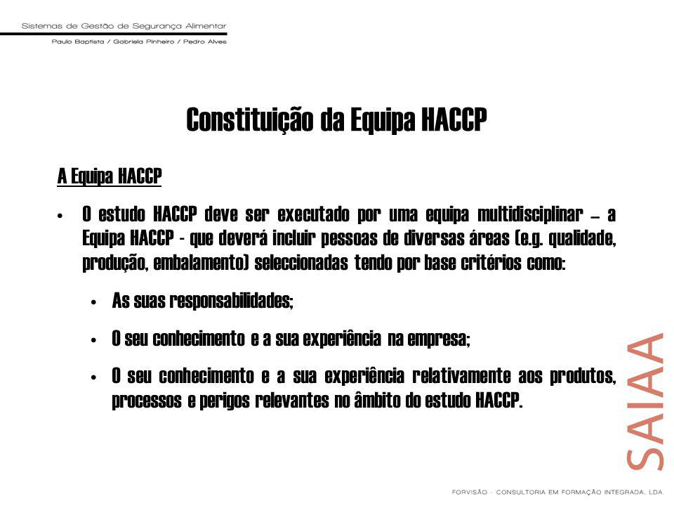 Constituição da Equipa HACCP A Equipa HACCP O estudo HACCP deve ser executado por uma equipa multidisciplinar – a Equipa HACCP - que deverá incluir pessoas de diversas áreas (e.g.