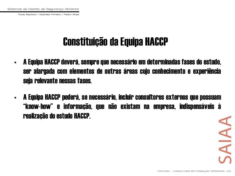 Constituição da Equipa HACCP A Equipa HACCP deverá, sempre que necessário em determinadas fases do estudo, ser alargada com elementos de outras áreas cujo conhecimento e experiência seja relevante nessas fases.