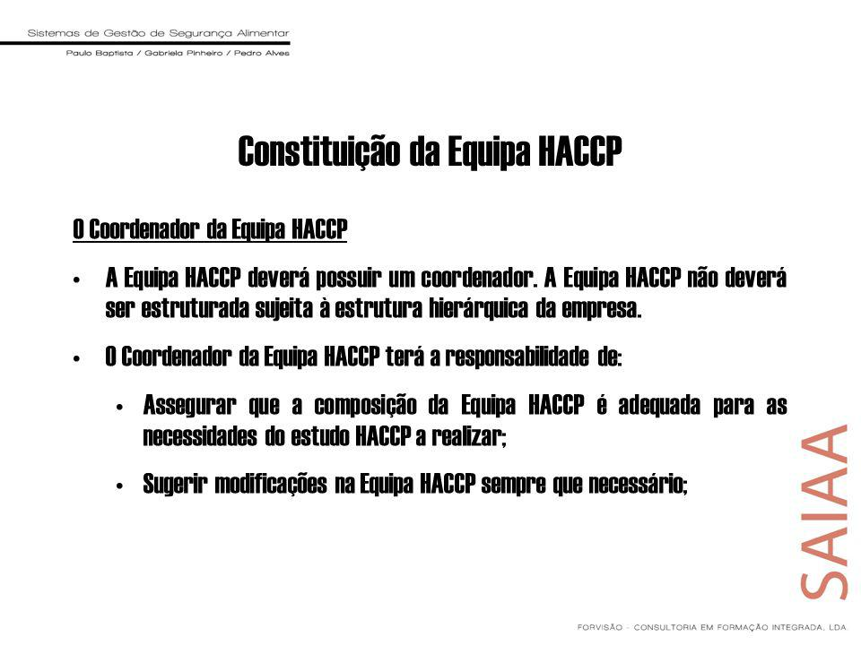 O Coordenador da Equipa HACCP A Equipa HACCP deverá possuir um coordenador. A Equipa HACCP não deverá ser estruturada sujeita à estrutura hierárquica