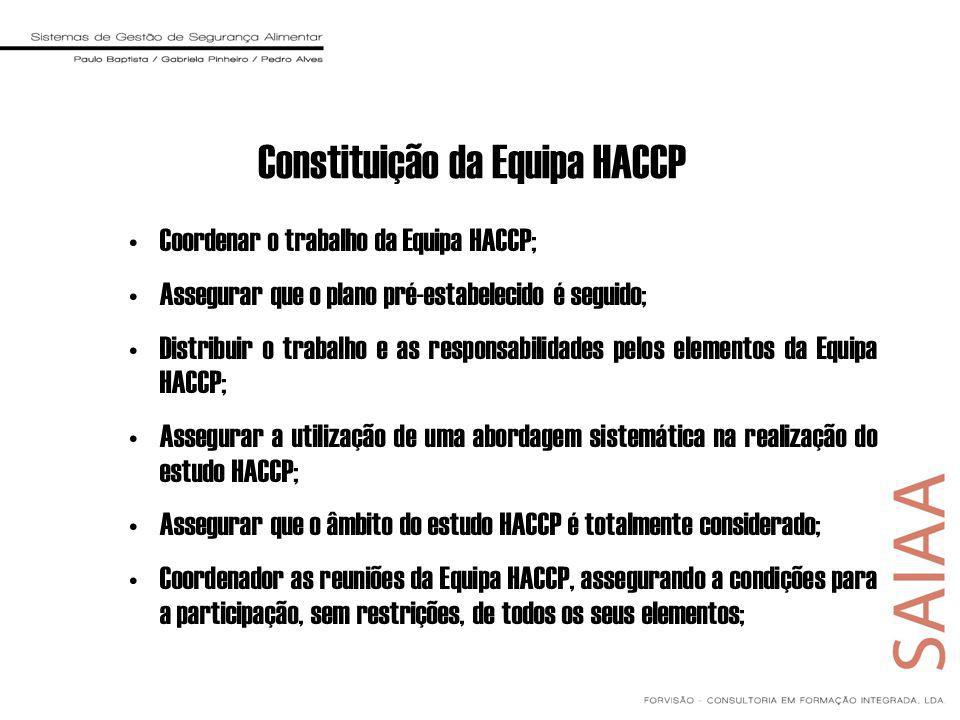 Coordenar o trabalho da Equipa HACCP; Assegurar que o plano pré-estabelecido é seguido; Distribuir o trabalho e as responsabilidades pelos elementos da Equipa HACCP; Assegurar a utilização de uma abordagem sistemática na realização do estudo HACCP; Assegurar que o âmbito do estudo HACCP é totalmente considerado; Coordenador as reuniões da Equipa HACCP, assegurando a condições para a participação, sem restrições, de todos os seus elementos; Constituição da Equipa HACCP