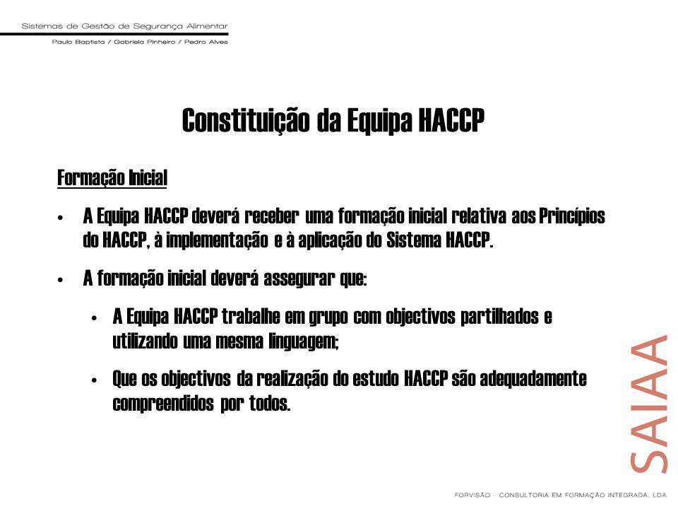Formação Inicial A Equipa HACCP deverá receber uma formação inicial relativa aos Princípios do HACCP, à implementação e à aplicação do Sistema HACCP.