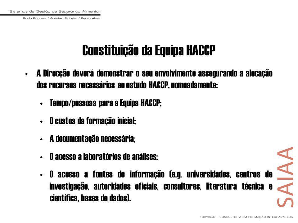 A Direcção deverá demonstrar o seu envolvimento assegurando a alocação dos recursos necessários ao estudo HACCP, nomeadamente: Tempo/pessoas para a Equipa HACCP; O custos da formação inicial; A documentação necessária; O acesso a laboratórios de análises; O acesso a fontes de informação (e.g.