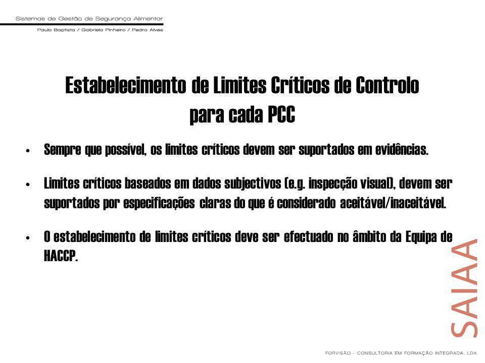 Sempre que possível, os limites críticos devem ser suportados em evidências. Limites críticos baseados em dados subjectivos (e.g. inspecção visual), d