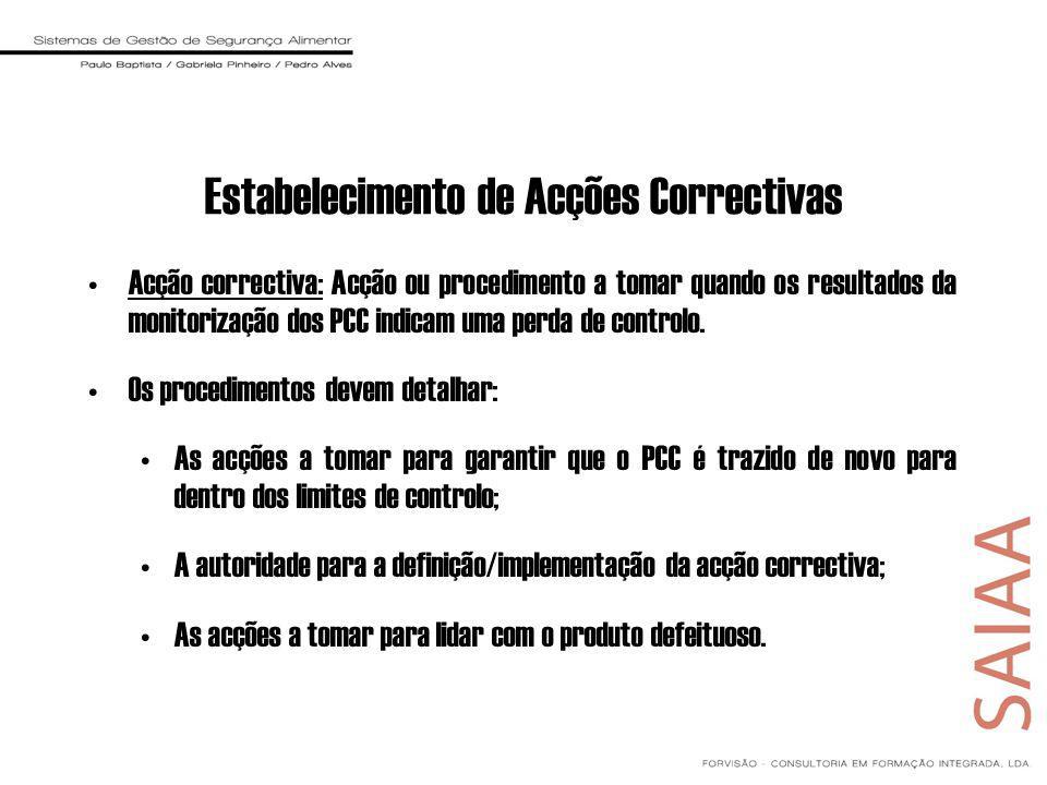 Estabelecimento de Acções Correctivas Acção correctiva: Acção ou procedimento a tomar quando os resultados da monitorização dos PCC indicam uma perda de controlo.
