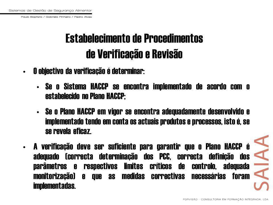 Estabelecimento de Procedimentos de Verificação e Revisão O objectivo da verificação é determinar: Se o Sistema HACCP se encontra implementado de acordo com o estabelecido no Plano HACCP; Se o Plano HACCP em vigor se encontra adequadamente desenvolvido e implementado tendo em conta os actuais produtos e processos, isto é, se se revela eficaz.