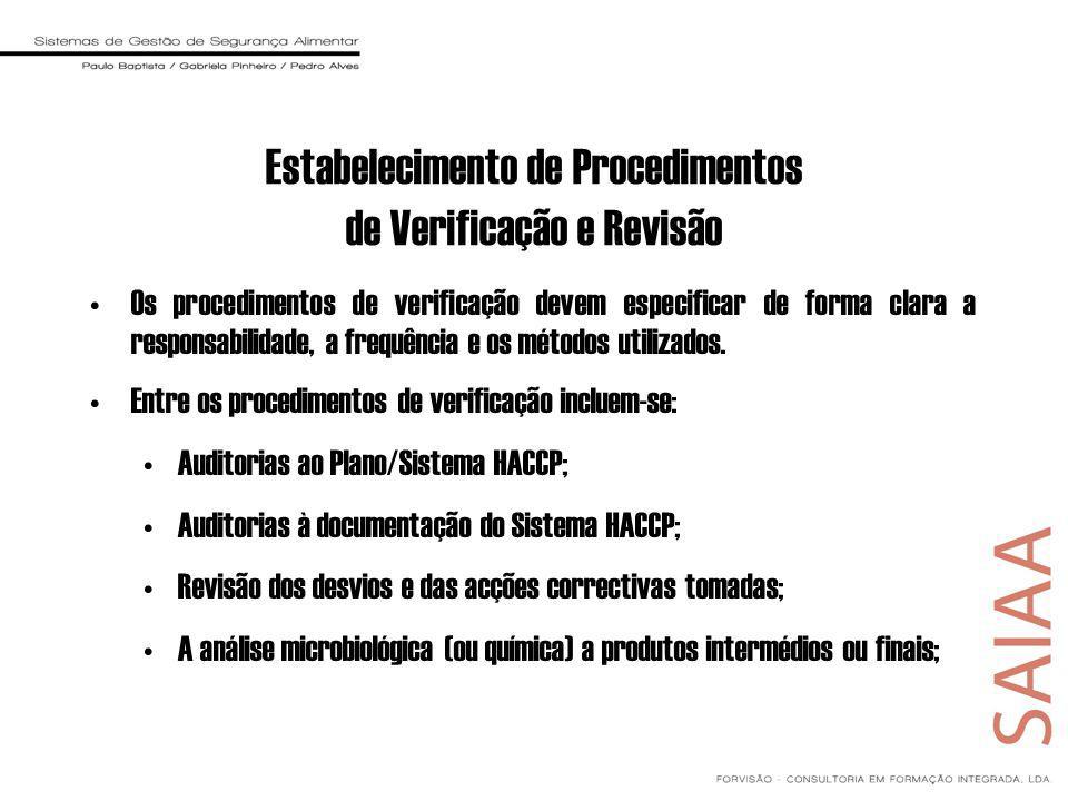 Os procedimentos de verificação devem especificar de forma clara a responsabilidade, a frequência e os métodos utilizados.