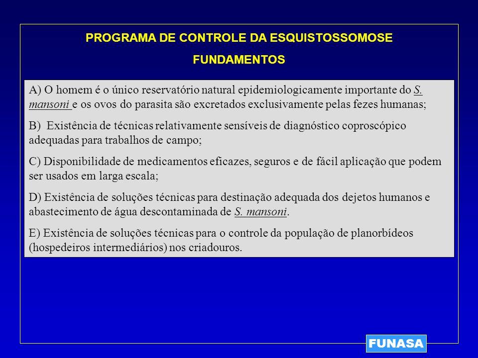 PROGRAMA DE CONTROLE DA ESQUISTOSSOMOSE FUNDAMENTOS A) O homem é o único reservatório natural epidemiologicamente importante do S. mansoni e os ovos d