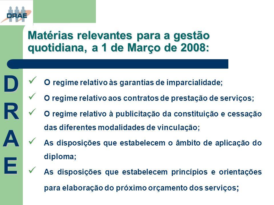 Matérias relevantes para a gestão quotidiana, a 1 de Março de 2008: O regime relativo às garantias de imparcialidade; O regime relativo aos contratos