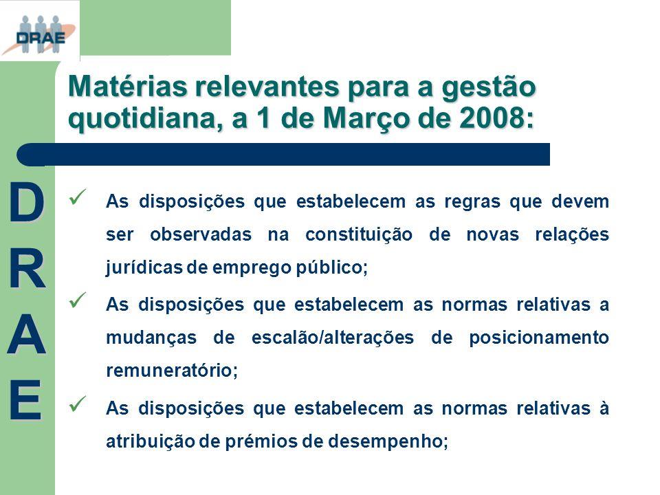 Matérias relevantes para a gestão quotidiana, a 1 de Março de 2008: As disposições que estabelecem as regras que devem ser observadas na constituição