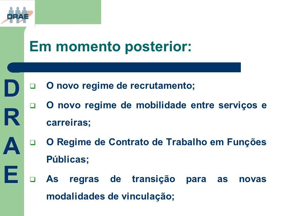 Em momento posterior: O novo regime de recrutamento; O novo regime de mobilidade entre serviços e carreiras; O Regime de Contrato de Trabalho em Funçõ