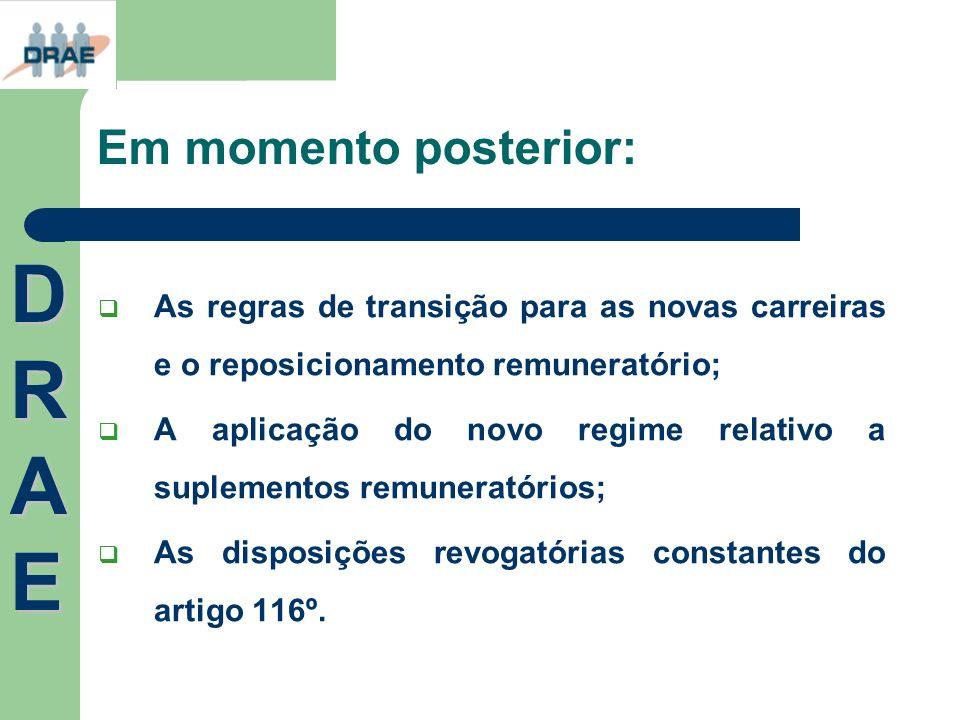 Em momento posterior: As regras de transição para as novas carreiras e o reposicionamento remuneratório; A aplicação do novo regime relativo a supleme