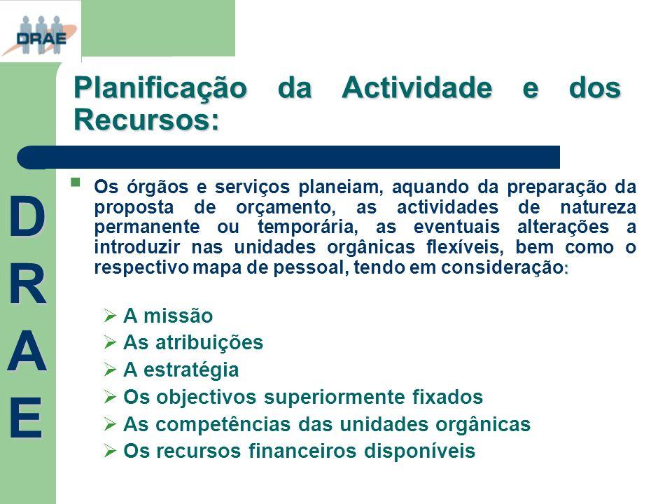 Planificação da Actividade e dos Recursos: : Os órgãos e serviços planeiam, aquando da preparação da proposta de orçamento, as actividades de natureza