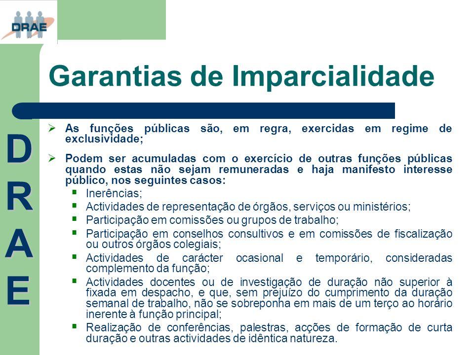 Garantias de Imparcialidade As funções públicas são, em regra, exercidas em regime de exclusividade; Podem ser acumuladas com o exercício de outras fu