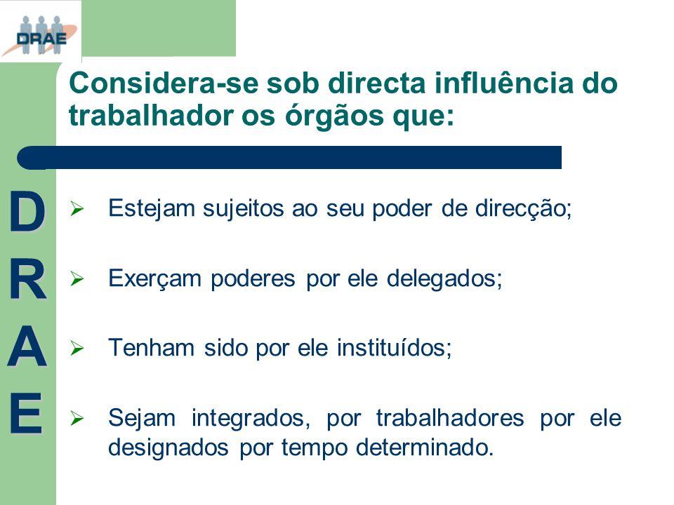 Considera-se sob directa influência do trabalhador os órgãos que: Estejam sujeitos ao seu poder de direcção; Exerçam poderes por ele delegados; Tenham