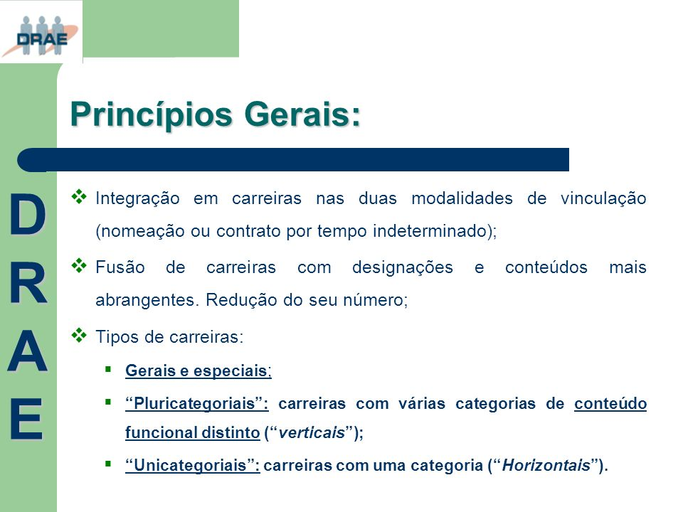 Princípios Gerais: Integração em carreiras nas duas modalidades de vinculação (nomeação ou contrato por tempo indeterminado); Fusão de carreiras com d