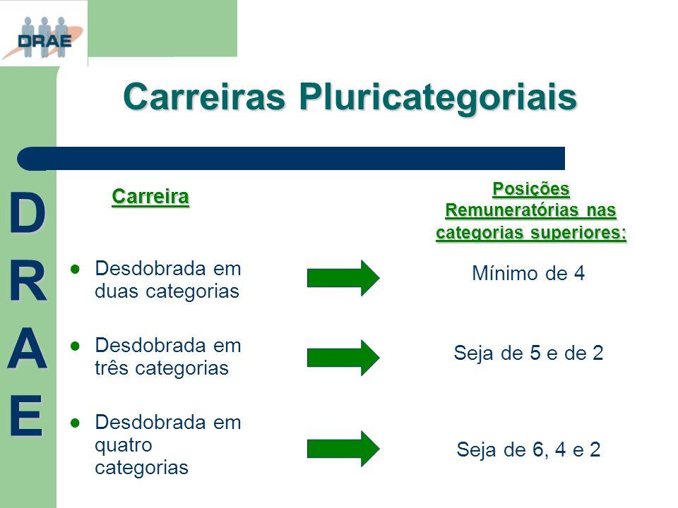 Carreiras Pluricategoriais Desdobrada em duas categorias Desdobrada em três categorias Desdobrada em quatro categorias Mínimo de 4 Seja de 5 e de 2 Se