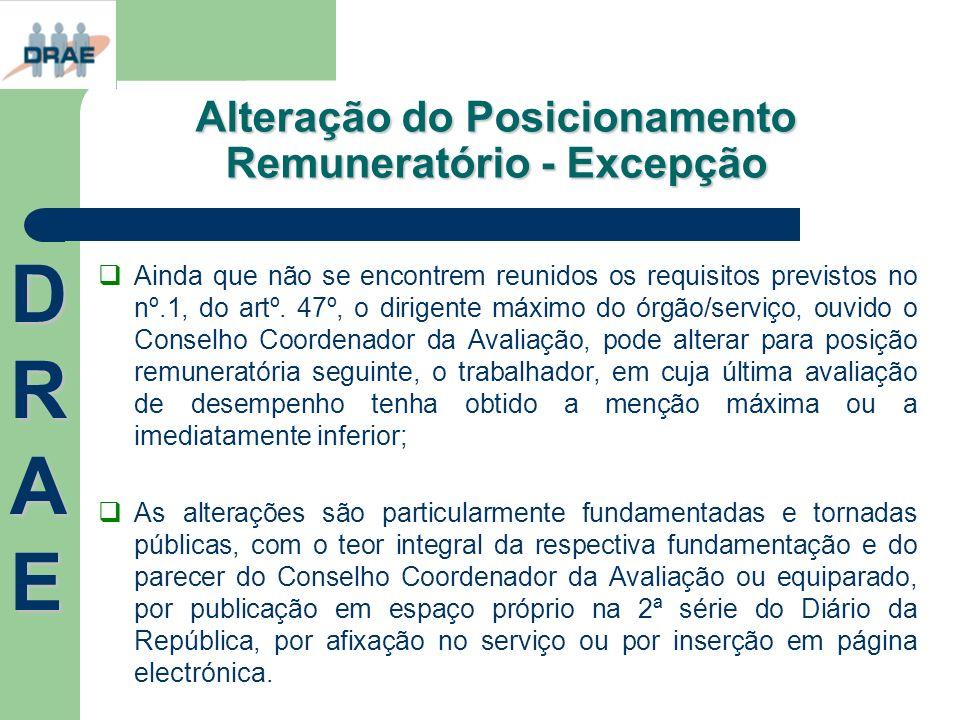 Alteração do Posicionamento Remuneratório - Excepção Ainda que não se encontrem reunidos os requisitos previstos no nº.1, do artº. 47º, o dirigente má