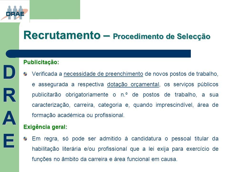 Recrutamento – Procedimento de Selecção Publicitação: Verificada a necessidade de preenchimento de novos postos de trabalho, e assegurada a respectiva