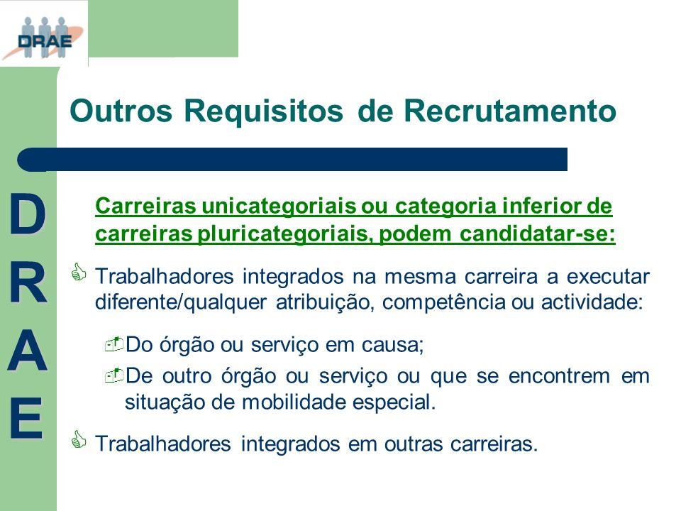 Outros Requisitos de Recrutamento DRAEDRAEDRAEDRAE Carreiras unicategoriais ou categoria inferior de carreiras pluricategoriais, podem candidatar-se: