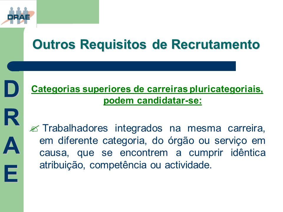 Outros Requisitos de Recrutamento Categorias superiores de carreiras pluricategoriais, podem candidatar-se: Trabalhadores integrados na mesma carreira